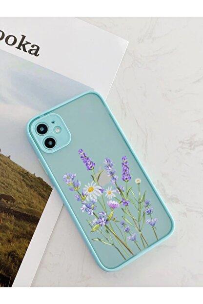mooodcase Iphone 11 Uyumlu Su Yeşili Kamera Lens Korumalı Lavender Desenli Lüx Telefon Kılıfı