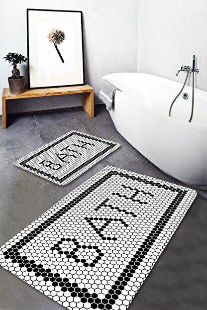 EVİMOD Black Bath Yıkanabilir 2li Banyo Halısı Paspas Klozet Takımı X
