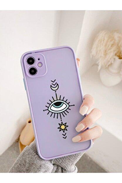 mooodcase Iphone 11 Uyumlu Lila Kamera Lens Korumalı Nazar Göz Desenli Lüx Telefon Kılıfı