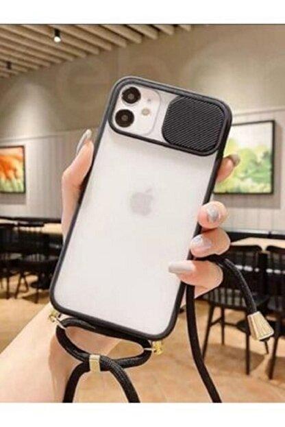 BRcase Iphone 11 Pro Max Ipli Sürgülü Kamera Koruyuculu Silikon Telefon Kılıfı