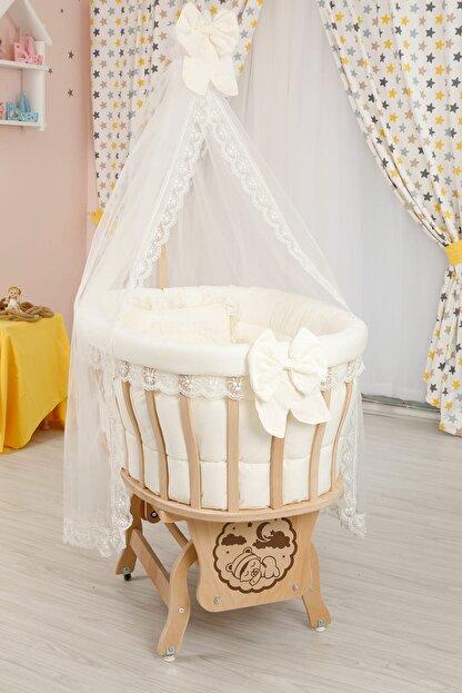 Bebekonfor Krem Fransız Dantelli Uyku Seti ile Doğal Ahşap Sepet Bebek Beşik