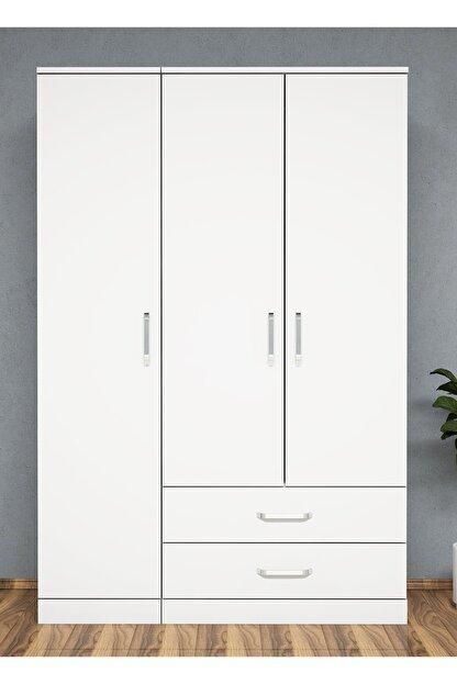 Bimossa K3245 Gardrop 3 Kapılı 2 Çekmeceli Askılı Elbise Dolabı Beyaz