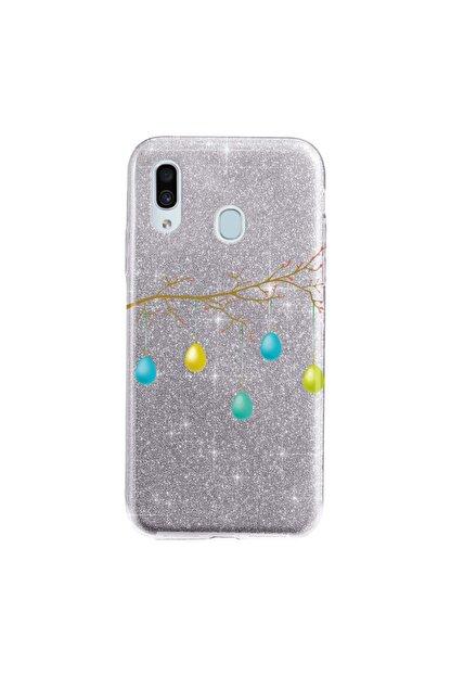 Cekuonline Samsung Galaxy A20 Kılıf Simli Shining Desenli Silikon Gümüş Gri - Stok601 - Kır Düğünü