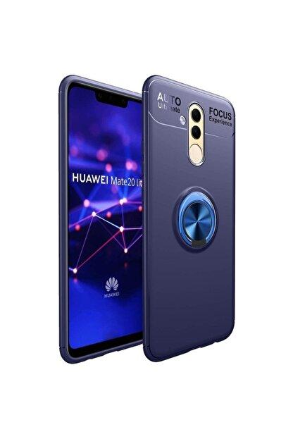 Fibaks Huawei Mate 20 Lite Kılıf Ravel Metal Yüzüklü Standlı Shockproof Silikon