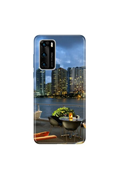 cupcase Huawei P40 Kılıf Esnek Silikon Kapak Miami2 Desenli + Nano Cam