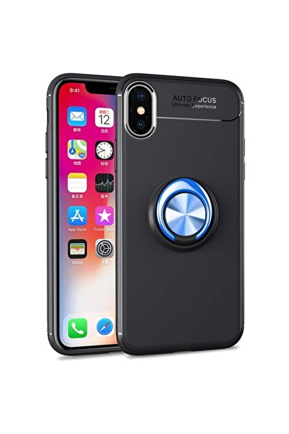 Fibaks Apple Iphone Xs Max Kılıf Ravel Metal Yüzüklü Standlı Shockproof Silikon