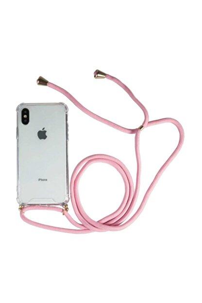 Atalay Iphone 7 Plus / 8 Plus Şeffaf Boyun Askılı Pembe Kılıf