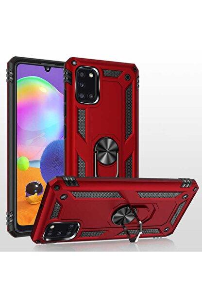 Telefon Aksesuarları A31 Yüzüklü Standlı Zırh Kılıf Kırmızı