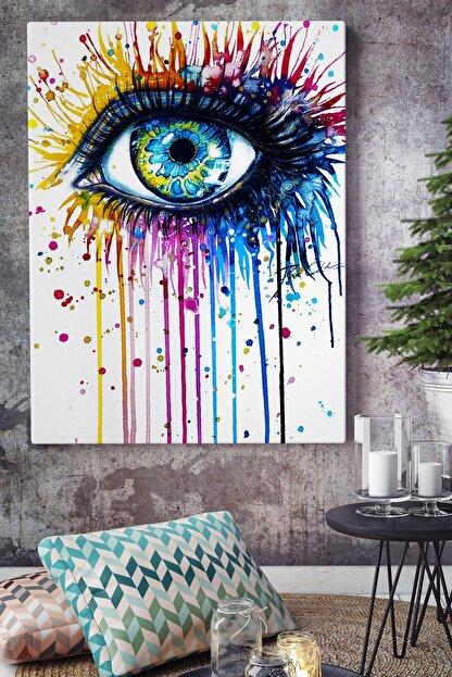KanvasSepeti Boyaları Akan Renkli Göz Art Vektörel Soyut Kanvas Canvas Tablo Dekoratif Tablolar