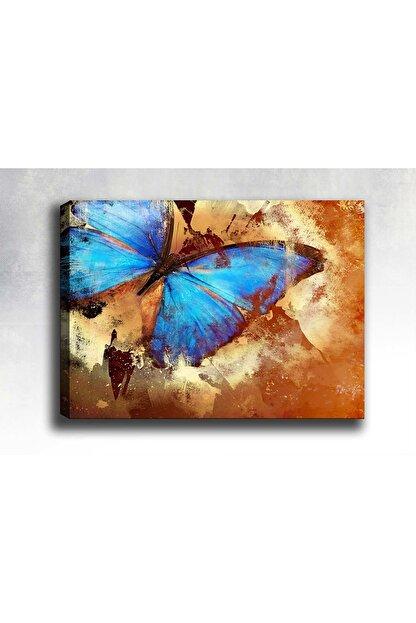 Shop365 Mavi Kelebek Baskılı Dekoratif Kanvas Tablo