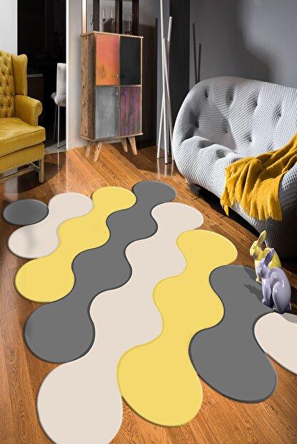 RISSE Dijital Baskılı Kaymaz Taban Yıkanabilir Bulut Desen Gri Kahveli Salon Halısı