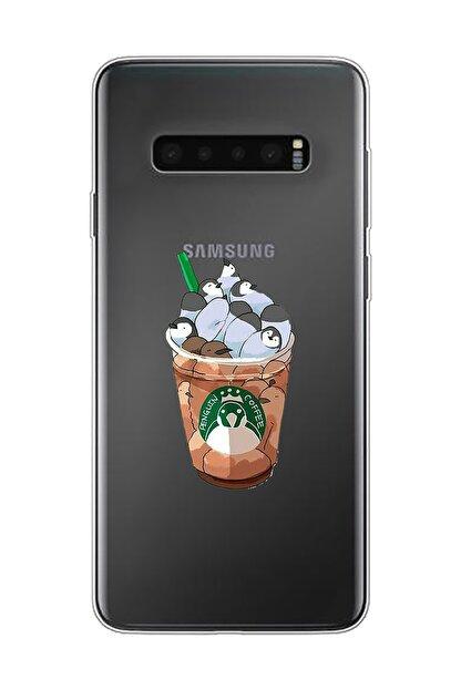 Mupity Penguen Kahve Tasarımlı Samsung S10 Şeffaf Telefon Kılıfı