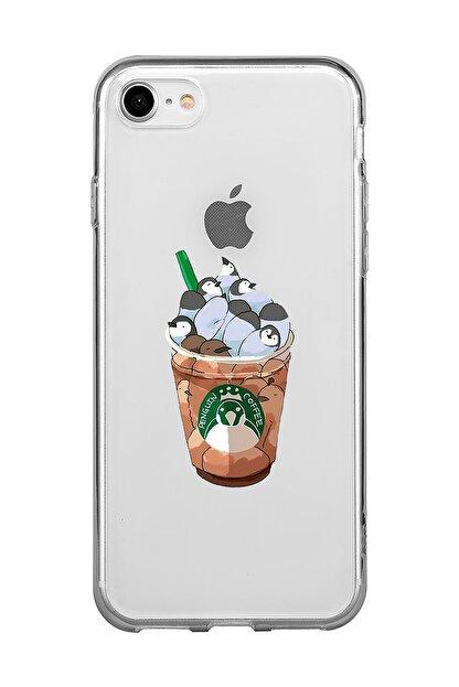 Mupity Penguen Kahve Tasarımlı Iphone 7-8-se 2020 Şeffaf Telefon Kılıfı