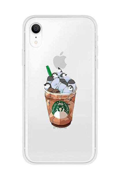 Mupity Penguen Kahve Tasarımlı Iphone Xr Şeffaf Telefon Kılıfı