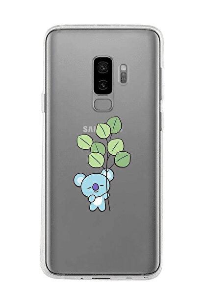 Mupity Yapraklı Koala Tasarımlı Samsung S9 Plus Şeffaf Telefon Kılıfı