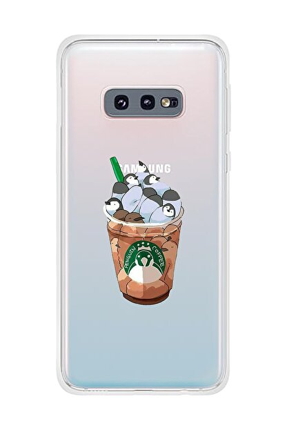 Mupity Penguen Kahve Tasarımlı Samsung S10e Şeffaf Telefon Kılıfı