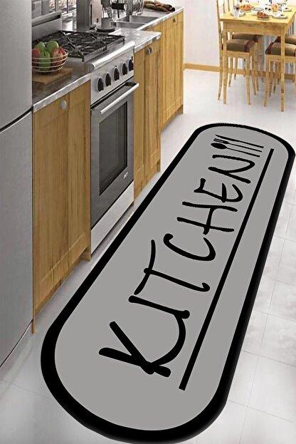 RISSE Dijital Baskılı Kaymaz Taban Yıkanabilir Kitchen Yazılı Mutfak Halısı 80 x 350