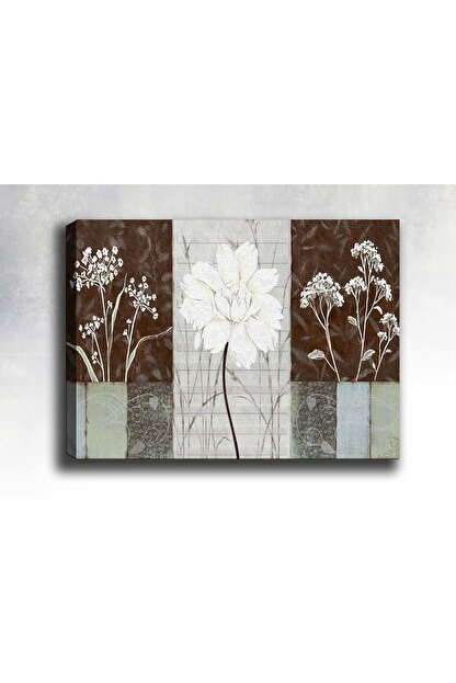 Shop365 Dekoratif Beyaz Çiçekler Kanvas Tablo Sb-2349