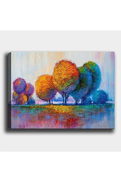 Shop365 Renkli Ağaçlar Kanvas Tablo