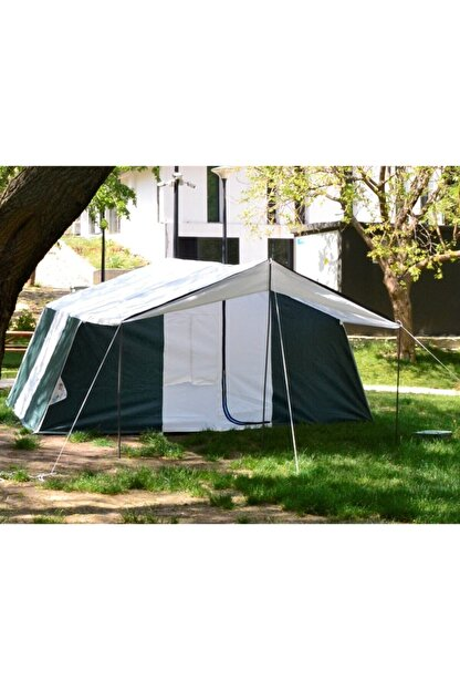 TUNÇ KAMP ÇADIRI Aile Tipi 2 Oda 1 Salon 8-10 Kişilik Kamp Çadırı - Yeşil