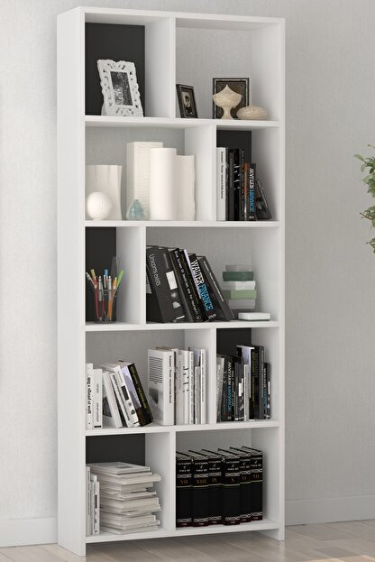 Platinreyon Beyaz Platin Dekoratif Zigzag Kitaplık