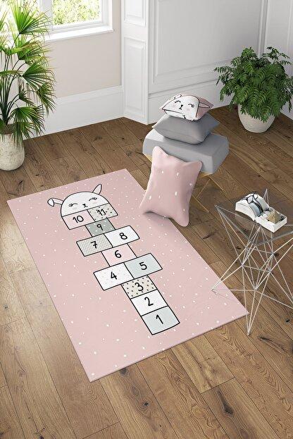 GARDENYA HOME Pembe Tavşanlı Seksek Desenli Çocuk Odası Halısı 150x200 cm