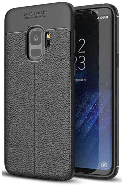Samsung Galaxy S9 Kılıf Deri Görünüm Sert Karbon Kapak