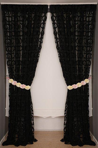 AKÇA TEKSTİL Vakko Siyah Renk Ip Perde Hazır Düğmeleri Dikilmiş 3 Mt. Kupon Perde 300*270 cm