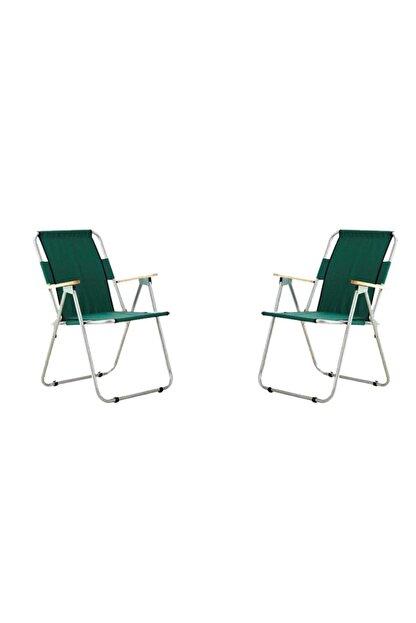 bayeren Yeşil 2'li Ağaç Kollu Katlanır Plaj Piknik Kamp Sandalyesi Seti