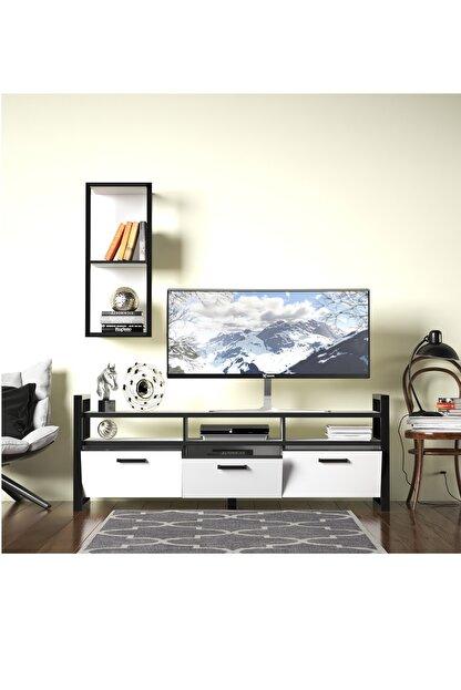 Evdemo Sedef Tv Sehpası Tv Ünitesi Beyaz Siyah