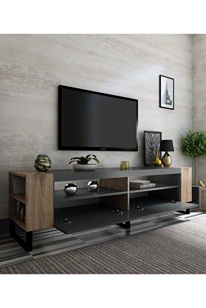 NEWLİNE Snow Tv Ünitesi 40 cm Derinlik Demir Ayaklı Antrasit - Çırağan x2022-1