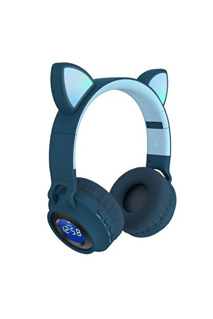 BSD GİFTED Dijital Göstergeli Led Işıklı Kedi Kulak Kablosuz Bluetooth Kulaklık