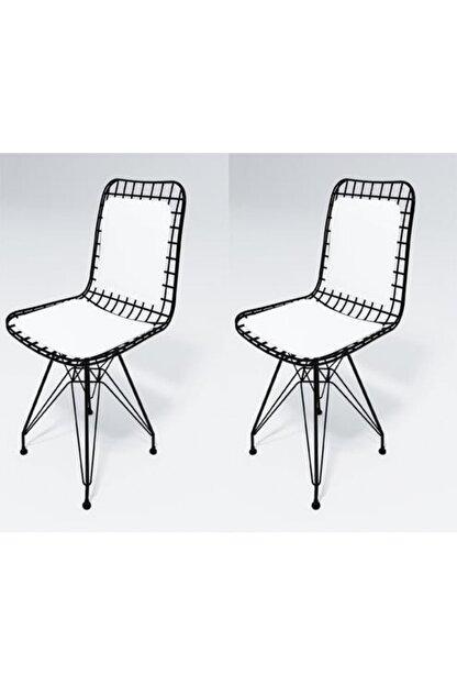 Kenzlife Mazlum Sırt Minderli Ofis Cafe Bahçe Mutfak Kafes Tel Sandalyesi 2 Li