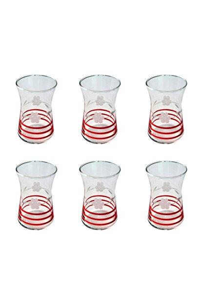 BAŞAK 42361 Heybeli Papatya (kırmızı) Dekor 6 Adet Çay Bardağı