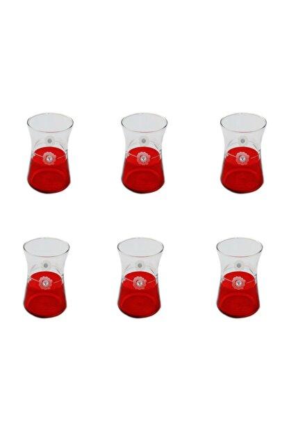 BAŞAK Heybeli Kırmızı(taşlı) Papatya Dekor 6 Adet Çay Bardağı