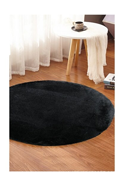 Sarar 100 x 100 cm Yuvarlak Düz Renk Peluş Pofuduk Kaydırmaz Jel Taban Siyah Renk Halı