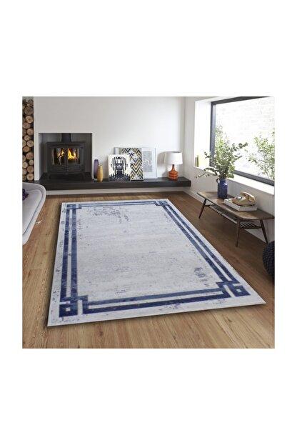 Balat Halı Mavi Çerçeveli Taşlama  Oturma Odası Ve Salon Halısı-200x290