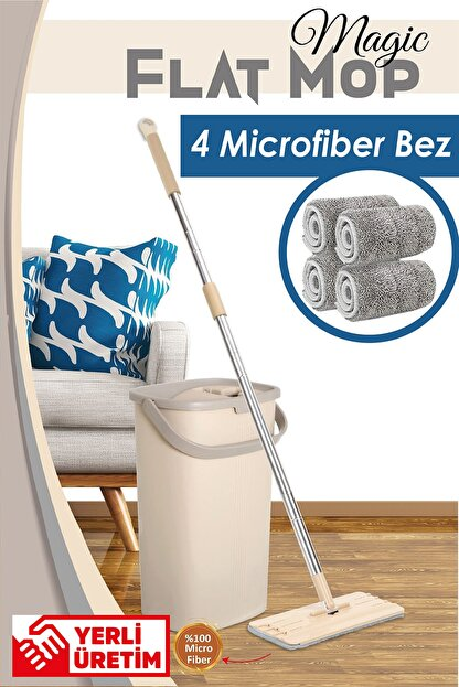 Dünya Plastik Magic Flat (Tablet) Mop Set 4 Microfiber Bez
