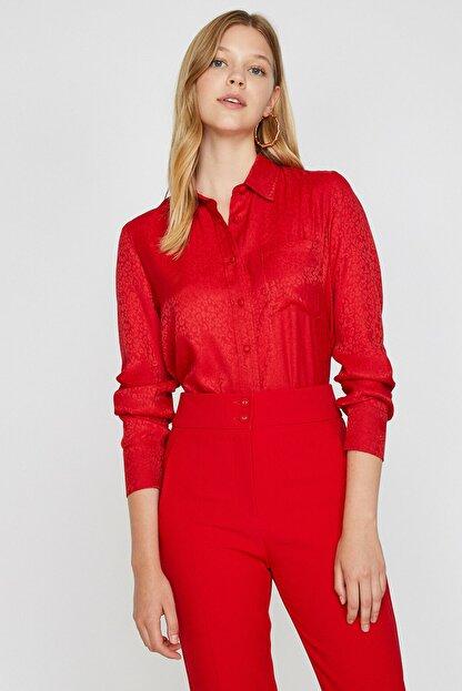 Koton Kadın Kırmızı Leopar Desenli Gömlek 0KAK68322PW