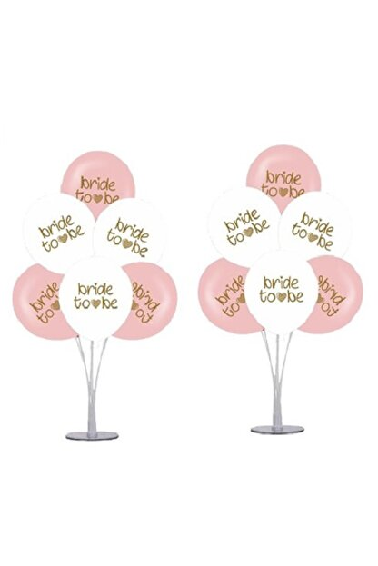 Magic Hobby 2 Adet 7'Li Balon Standı Ve 14 Adet Bride To Be Gold Baskılı Beyaz - Pembe Balon Set - Gelin Balonu