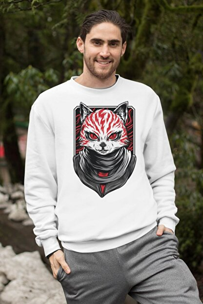 Angemiel Wear Creepy Cat Erkek Sweatshirt A0232WE