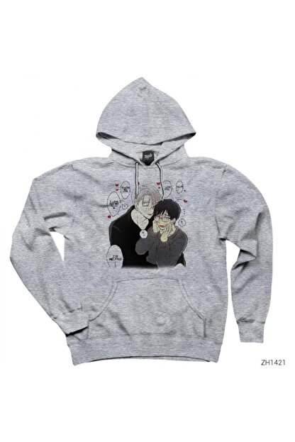 Zepplin Giyim Yuri On Ice Viktor Gri Kapşonlu Sweatshirt / Hoodie