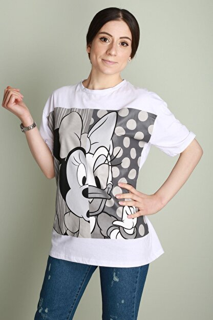 Z GİYİM Bayan T-shirt Black And Grey Mickey Salash 9632zgm20