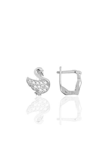 Söğütlü Silver Gümüş Rodyumlu Taşlı Kuğu Küpe SGTL10164RODAJ
