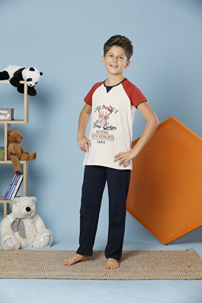 Siyah İnci Erkek Çocuk Ekru Kısa Kollu Pamuklu Likralı Pijama Takım