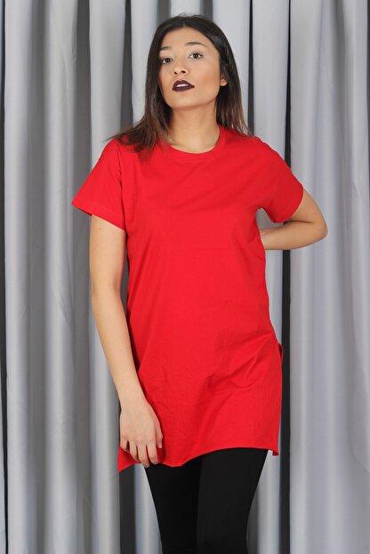 AlpinTeks Kadın Kırmızı Yırtmaçlı Bisiklet Yaka T-shirt