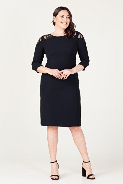 MI Kadın Siyah Laser Kesim Elbise 20Y.MI.ELB.71034.01