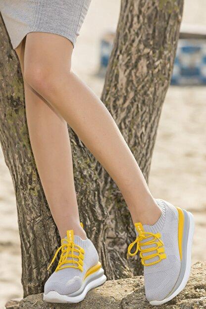 Ewoll Red2 Gri Yüksek Tabanlı Kadın Spor Ayakkabı