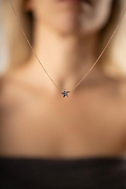 İzla Design Kadın Deniz Yıldızı Model Mix Taşlı Rose Kaplama Gümüş Kolye PKT-TLYSLVR0917