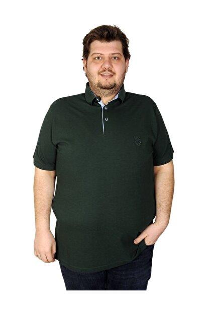 ModeXL Tshirt Polo Yaka Nakışlı Klasik Pike 20553 Nefti